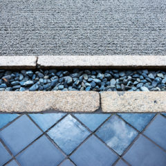 Detail of different textures and materials at a rock garden in Kyoto, Japan.