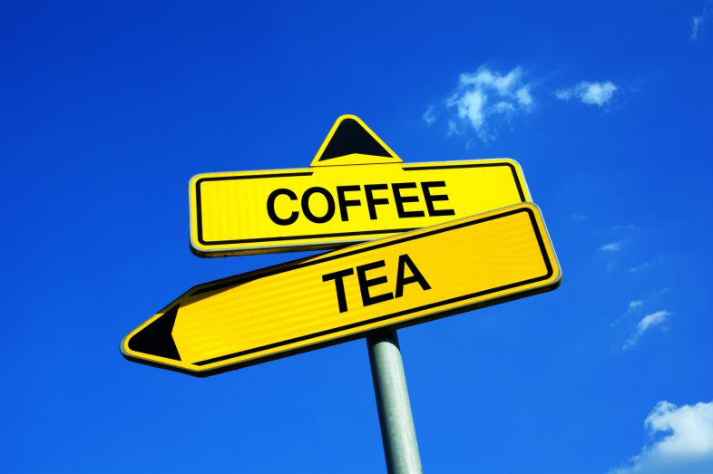 Coffee or Tea - Traffic sign with two options - popularity of drinks and beverage based on health benefits, taste, amount of caffeine